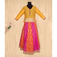 Silverthread Elegant Lehnga Choli Dupata Set, Orange & Yellow